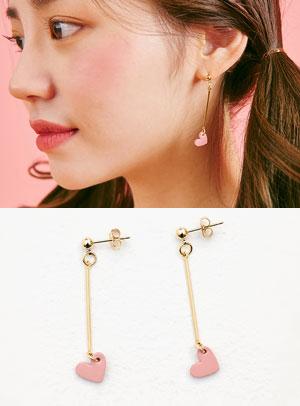 대롱이 긴하트 earring